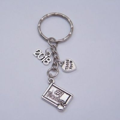 Number 1 Teacher Keyring - Triple Charm Style